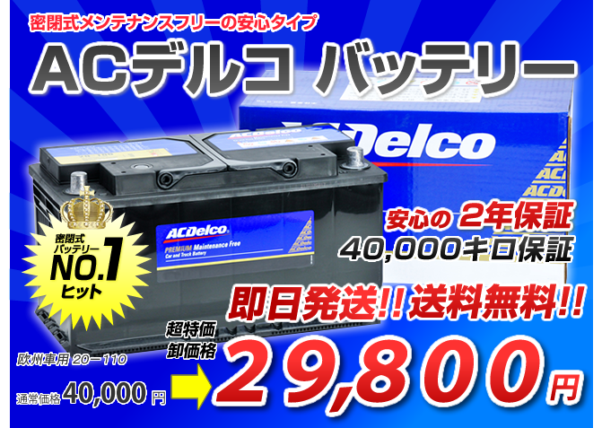 AC Delcoバッテリー20-110(110Ah)