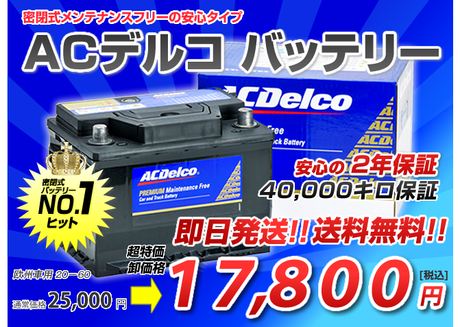 AC Delcoバッテリー20-60(60Ah)